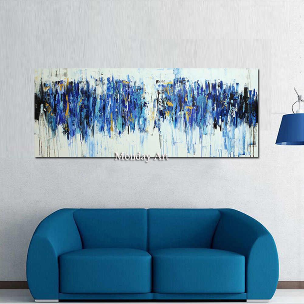 Poster Quardro Dinding Seni Lukisan Kanvas Modern Abstrak Biru Kuning Poster Dinding Seni Gambar untuk Ruang Tamu Dekorasi Rumah
