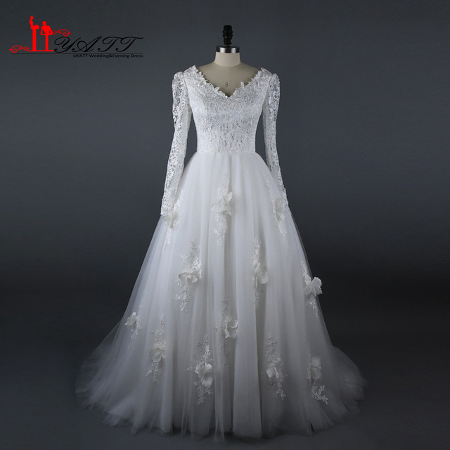 Muslim 2017 Wedding Bridal Dresses Lace Long Sleeves Flowers Elegant Women Vintage Arabic Gown Real