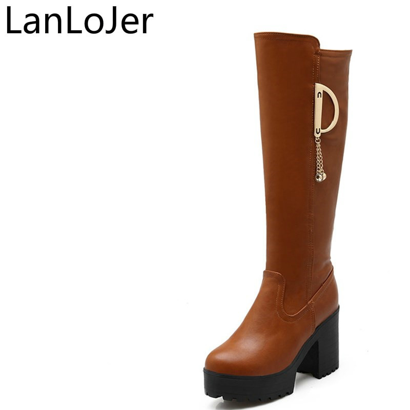 LanLoJer Thick High Heels Winter Warm Shoes Woman Fashion Round Toe Platform Long Boots Ladies Pu Leather Thigh Knee High Boots