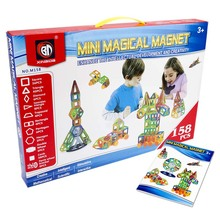 158 unids Grande Diseñador de Modelos de Construcción DIY 3D Bloques de Construcción Magnética Magnética Aprendizaje Ladrillos Juguetes Educativos para Niños
