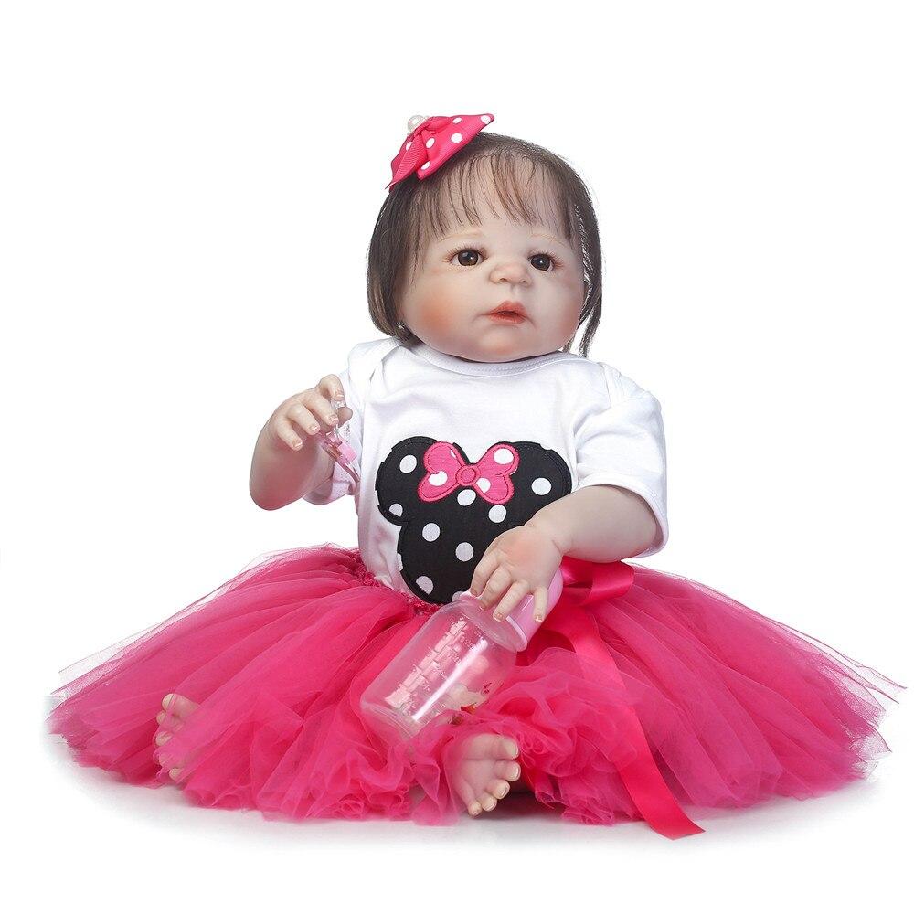 23 pouces Full silicone reborn bébé poupées Jouet Bébé-Reborn réaliste lol d'origine vinyle nouveau-né se baigner princesse bébé Brinquedos jouet - 5