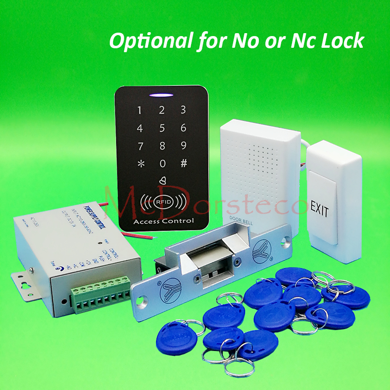 DIY Full 125khz Rfid Access Control System Kit + NO or NC Electric Strike Lock + Power Supply 125khz Keypad Door Lock System diysecur magnetic lock door lock 125khz rfid password keypad access control system security kit for home office