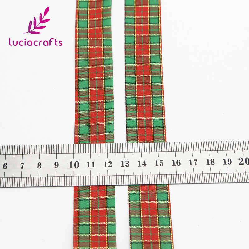Lucia หัตถกรรม 5 หลา 25mm ลายสก๊อตพิมพ์ Grosgrain ริบบิ้น Trim Hair Bows Christmas PARTY ของขวัญตกแต่ง Handcraft P0803