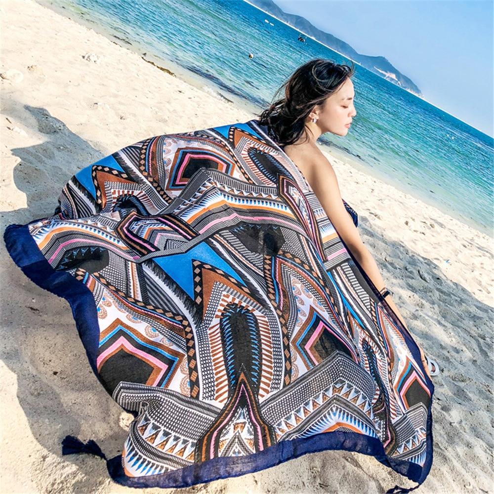 180cm Fashion Scarf Shawl Female Accessories Sunbathe Bath Towel Beach Towel Chiffon Floral Pattern Women Long Scarves Wraps