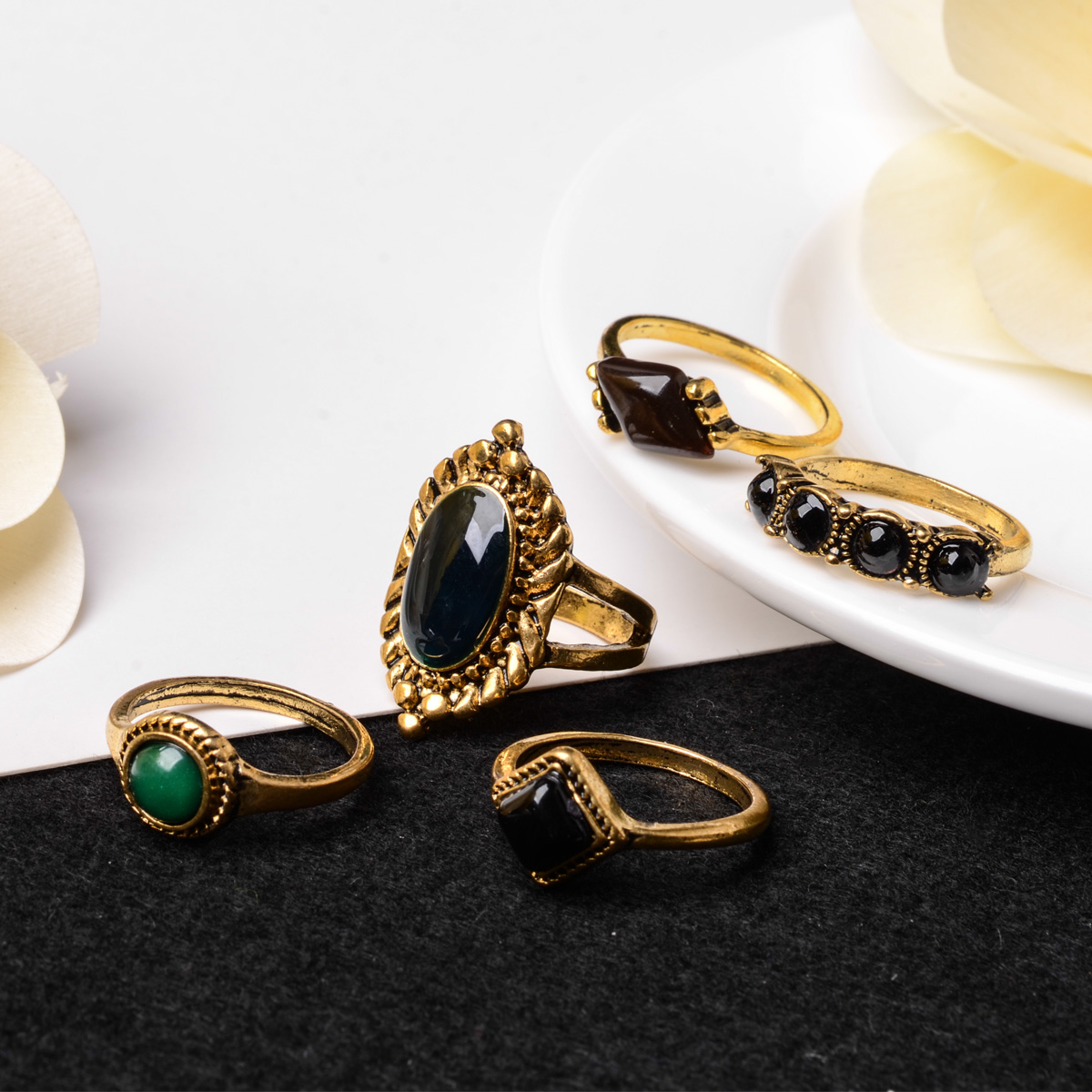 Charming Bohemian Midi Ring Set Antique Gold Color Vintage Steampunk Anillos Knuckle Rings For Women Boho Jewelry Shellhard 5pcs