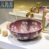 Золото керамические счетчик бассейна круг чаши, ванная комната, умывальник