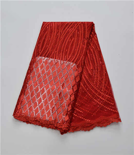 New Design Fancy Pattern Korea Mesh Fabric With Sequins For Big Occasion , High Quality  Nice African Lace Fabric