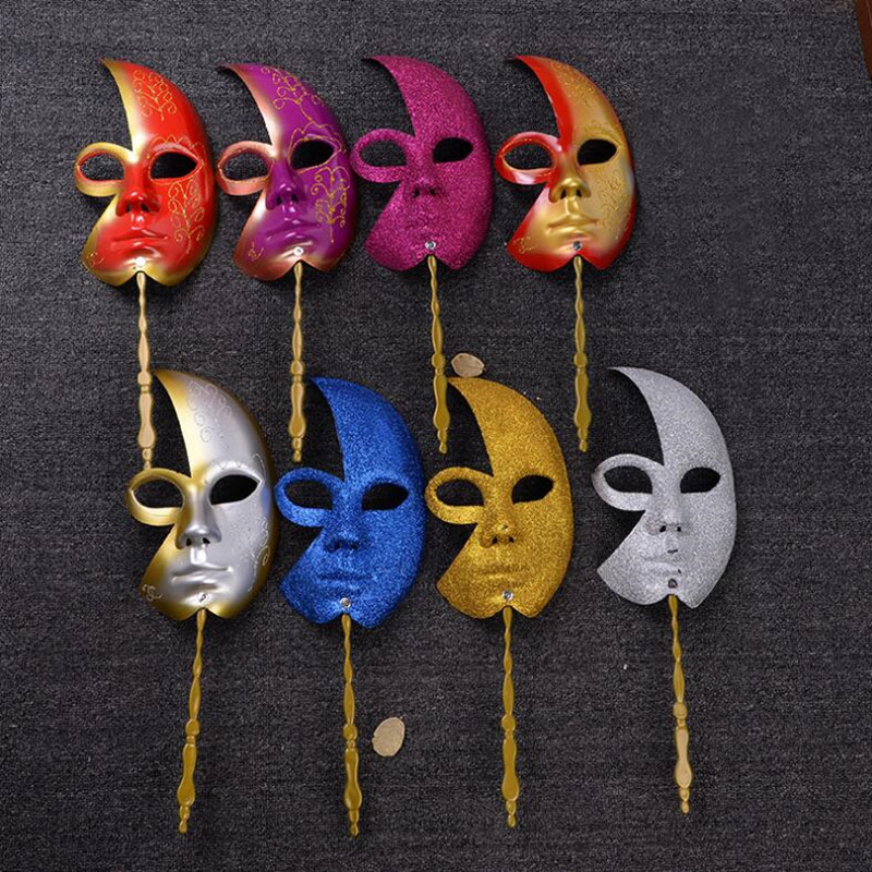 Half Face Mask On A Stick Women Girls Handheld Mask Venetian Princess Masks Ball Party Christmas Navidad New Year