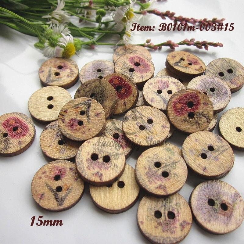 Suministros de costura 300 piezas 15mm flores Pastoral botones de madera para scrapbooking flor patrón botones para materiales decorativos artesanales