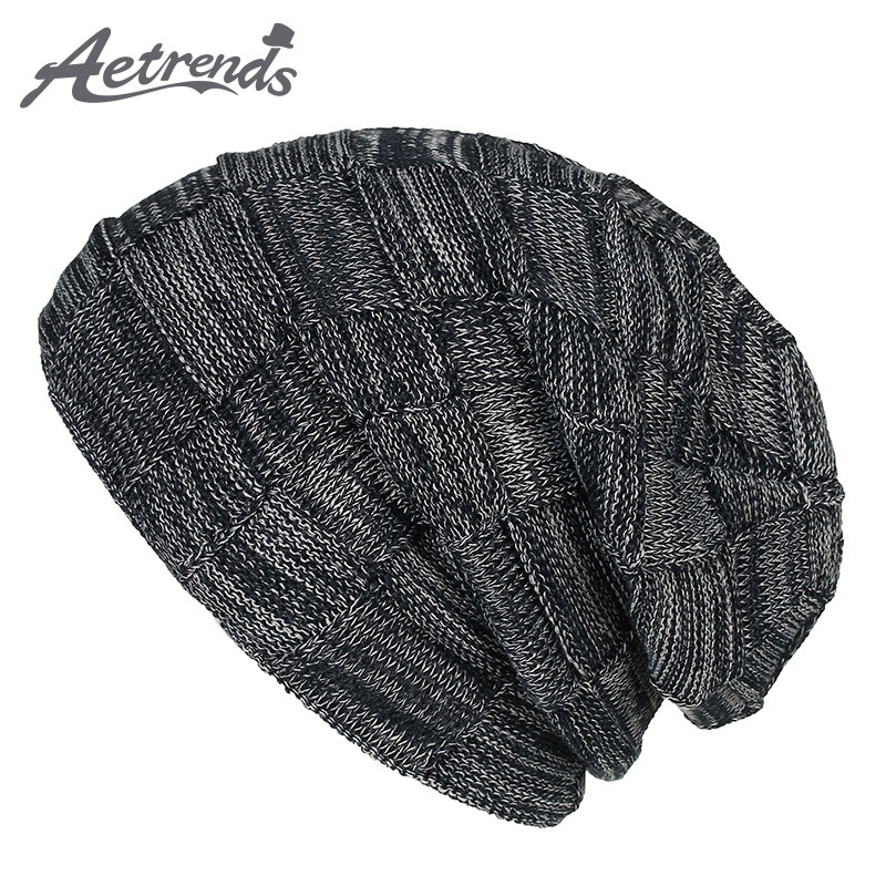 [AETRENDS] New 2017 Hat Male Winter Cotton Knitted Hip Hop