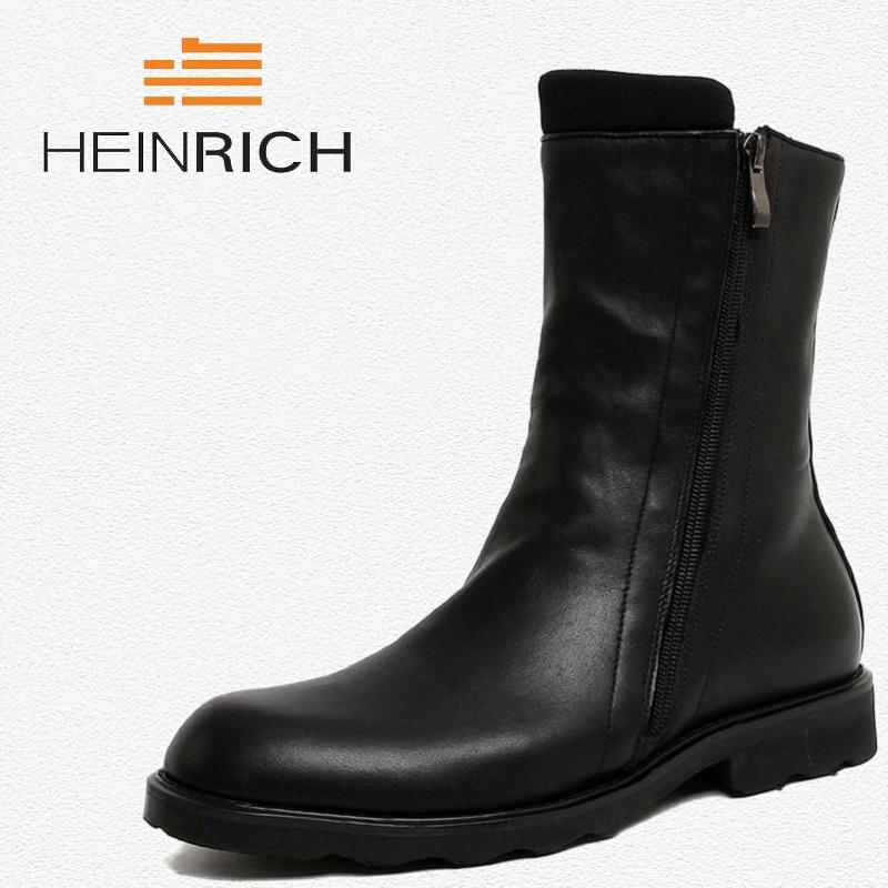 HEINRICH Brand Men High Quality Cow Split Leather Zipper Ankle Boots Male Winter Leisure Party Retro Motorcycle Shoes Laarzen