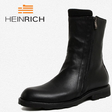 HEINRICH Brand Men High Quality Cow Split Leather Zipper Ankle Boots Male Winter Leisure Party Retro Motorcycle Shoes Laarzen