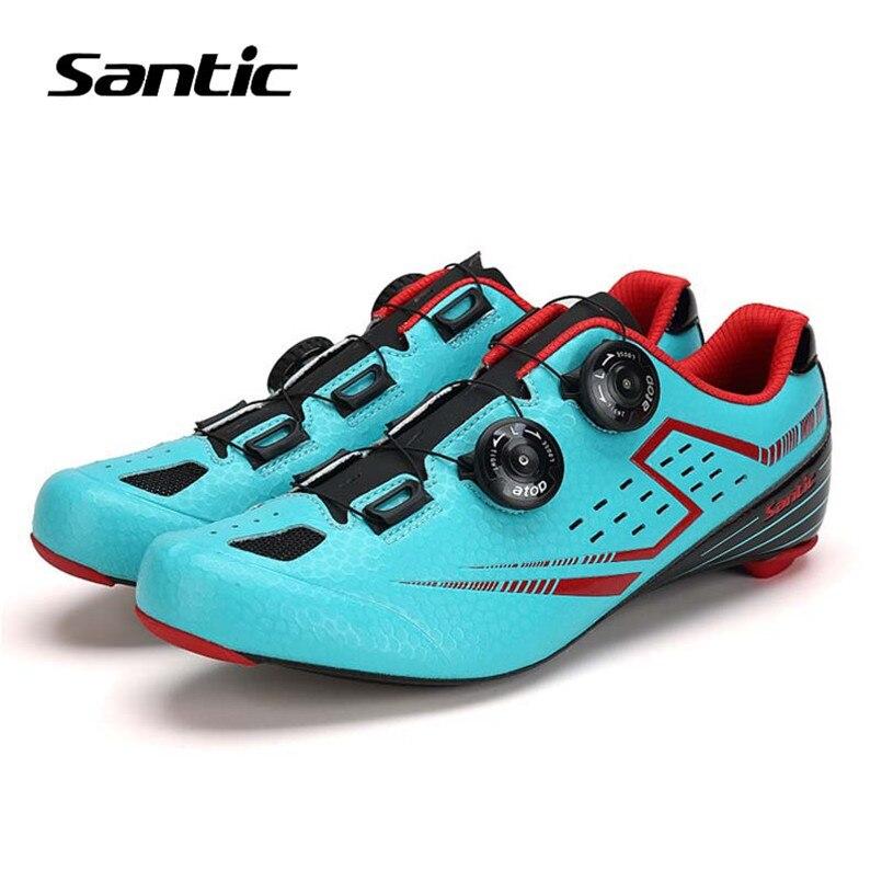 Chaussures de cyclisme Santic chaussures de vélo de route pour hommes avec semelles extérieures en Fiber de carbone ultralégères Zapatillas Ciclismo chaussures de vélo auto-bloquantes