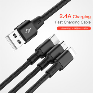 USB Cable For iPhone XS X 8 7 6 Charging Charger 3 in 1 Micro USB Cable For Android USB TypeC Mobile Phone Cables For Samsung S9