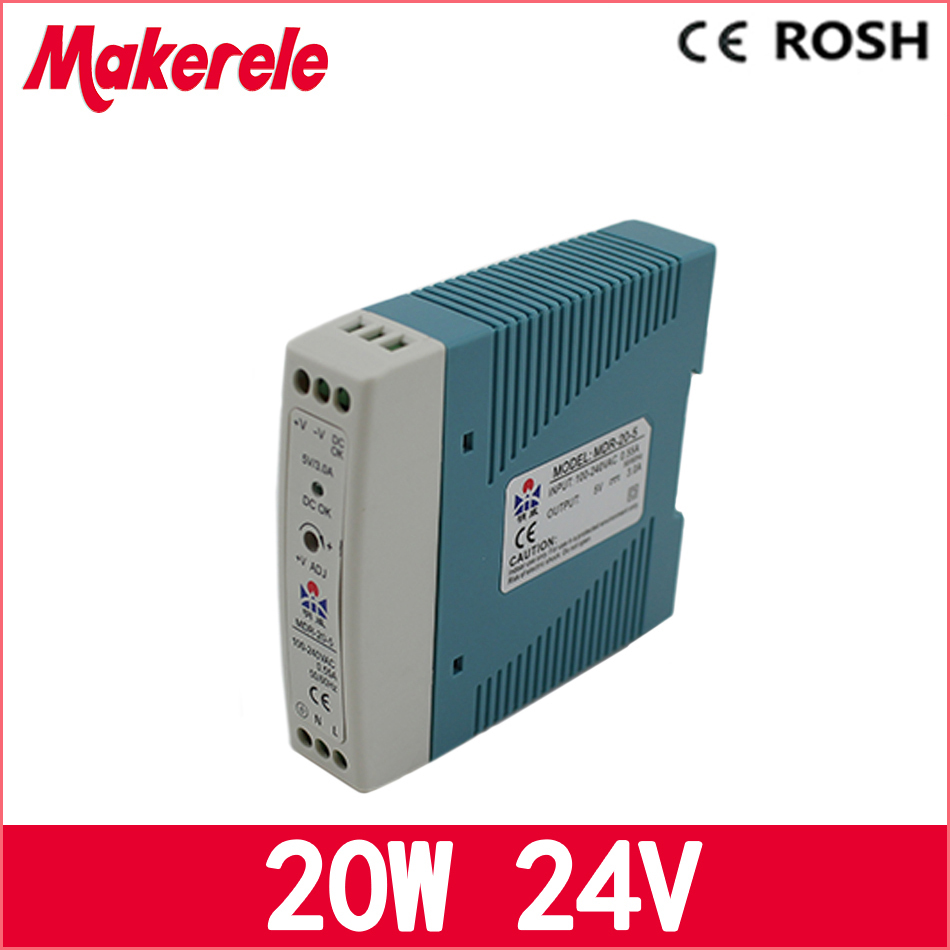 free shipping 20W 24v ac dc power supply MDR-20-24 DIN rail Mini switching power supply  for LED driver ac dc dr 60 5v 60w 5vdc switching power supply din rail for led light free shipping