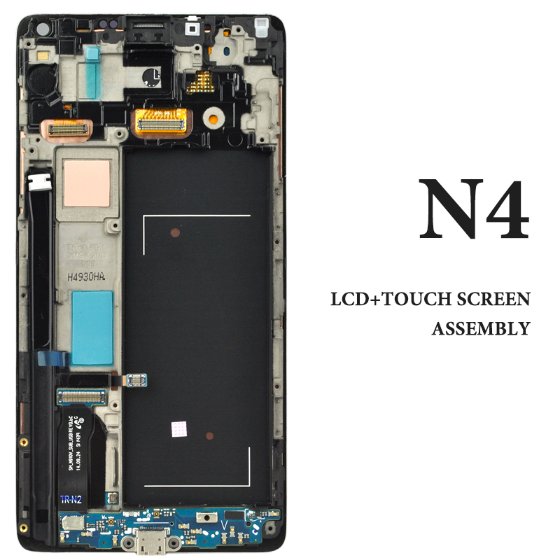 1PCS Super AMOLED Screen OEM quality assurance For Note 4 N9100 LCD display screen with frame assembly