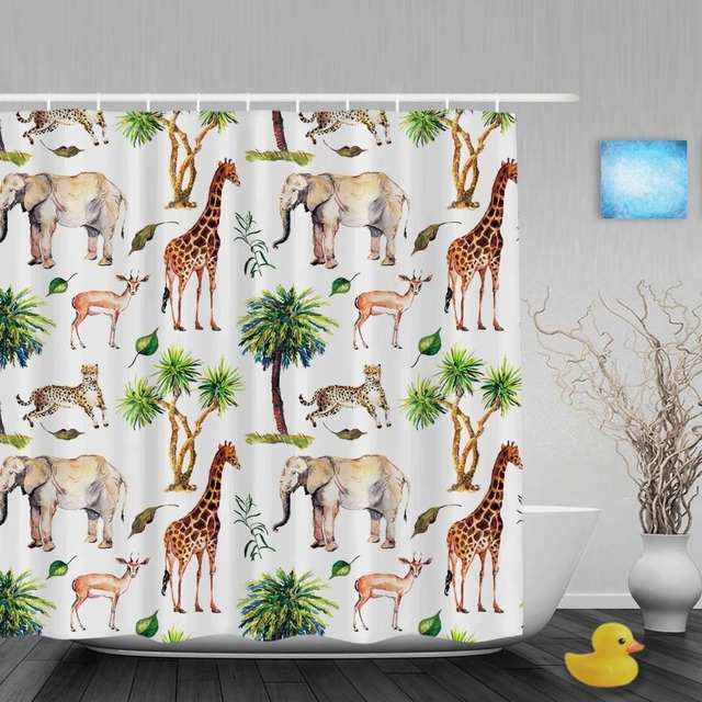 Wild Animals Nature Theme Shower Curtain Giraffe Elephant Goat Bathroom Curtains Watercolor Polyester Fabric