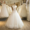 SL-101 New Custom Made Scoop Neck Tulle Beaded Lace Appliques Wedding Dress 2017