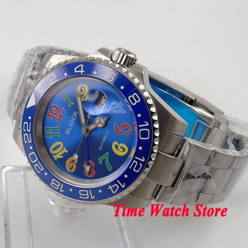Bliger 40mm blue dial date colorful marks saphire glass blue Ceramic Bezel GMT Automatic movement Men's watch цена и фото