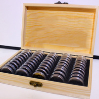 Mayitr Wood Coins Display Box Case Coins Storage Boxes Jewelry Box Home Storage Organization+mixed 50 25/27/30mm Round boxes