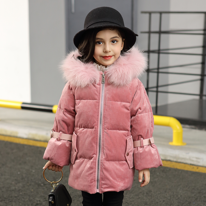 купить HSSCZL Girls Duck Down Jackets 2018 Brand Long Winter Thicken Children Down Coat Outerwear Overcoat Hooded Natural Fur Collar онлайн