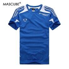 MASCUBE hombre Quick Dry Wicking camisetas malla transpirable rayado manga  corta impresión O cuello camiseta de d308b017c283e