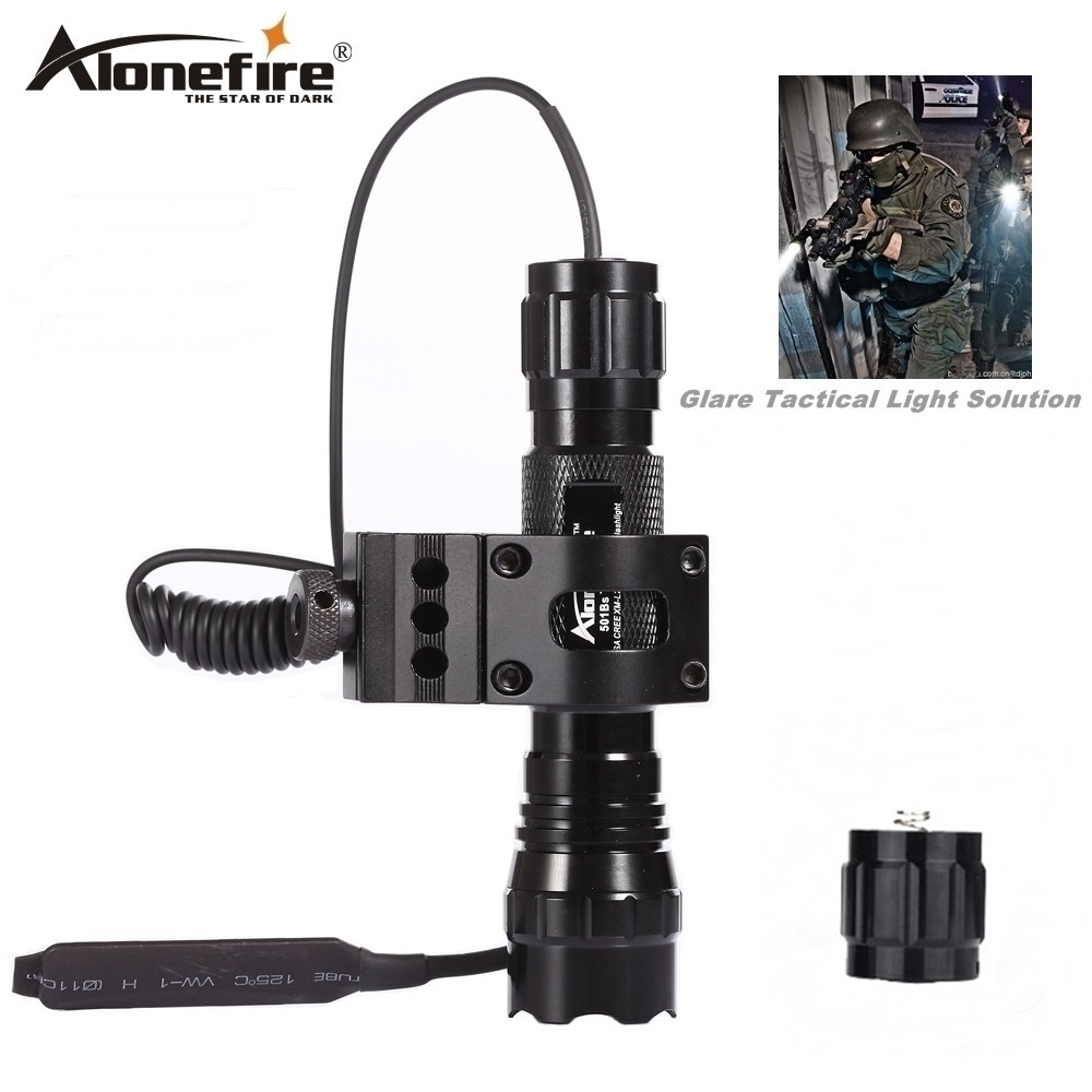 Alonefire 501B Lampu suluh taktikal CREE XML T6 LED Airsoft Senjata cahaya Memburu Rifle Torch Ditembak pistol lampu Suis jauh 18650