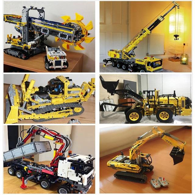 Teknik Mobil 20004 20005 20006 20007 20008 20009 20010 20015 20019 20056 20076 Besar Crane Truck Wheel Loader Excavator Mainan