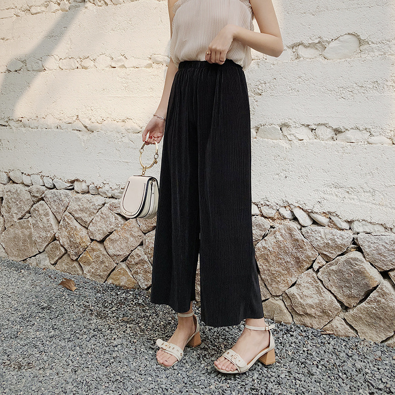 Self Fold Pleated Palazzo   Pants   Women Bottoms 2018 Autumn Women Casual   Pants   Mid Waist   Wide     Leg     Pant
