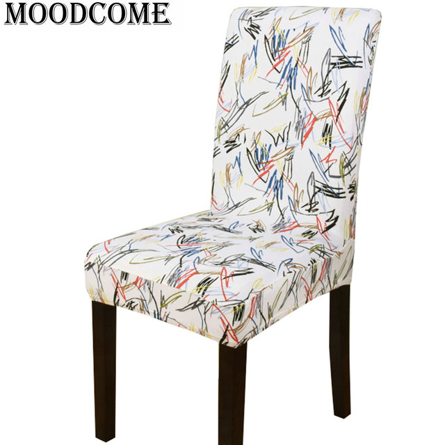 cheap chair covers for chairs with arms foldable portable singapore graffiti cover dining banquet elastic impressionism abstract art spandex