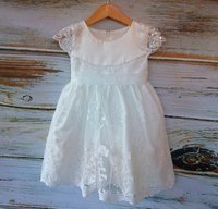 Stunning Soft White Girls Lace Baptism Dress Christening Dress Baby Flower girl dress with Lace Capp sleeve