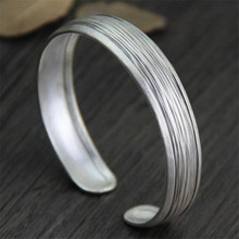 Retro 925 Sterling Silver Bangles For Women Vintage Jewelry Female Handmade Open Cuff
