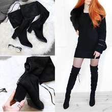 2018 Over The Knee Boots Winter Round Toe Warm Women Boots Lady Short Plush + Stretch Fabric Fashion Boots Big Size 34-43