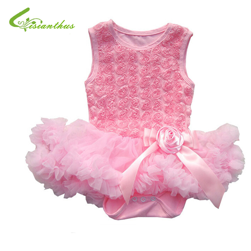 Baby šifón Princezna šaty Batole dívka bez rukávů Romper Roztomilý růžový bublinu Tutu šaty Baby nové módy Jarní letní oblečení