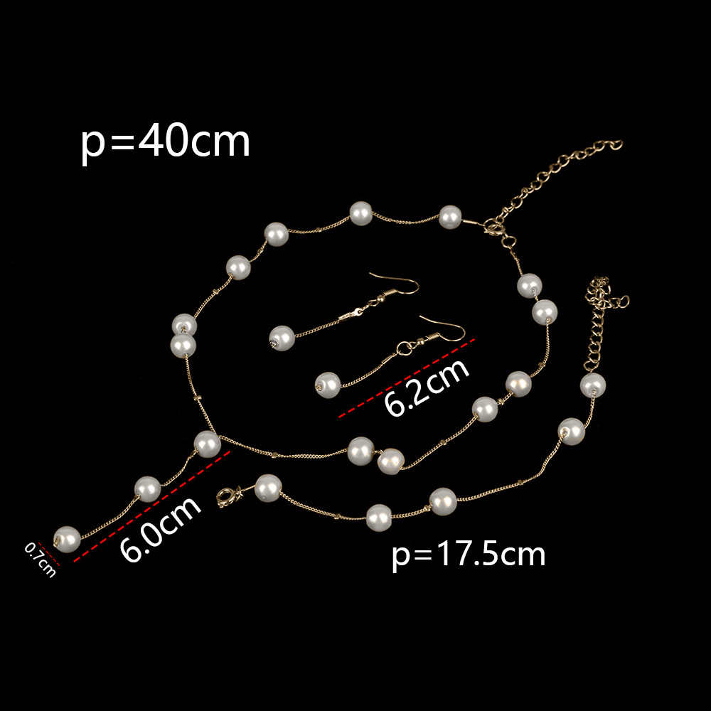 1Set Elegant Imitation Pearls Necklace For Women Wedding Gold-color Crystal Earrings Necklace Fashion Bracelet Jewelry Sets