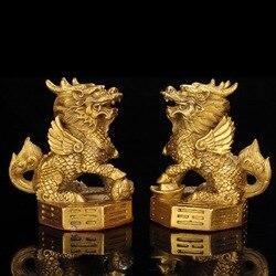 Para chiny mosiądz Bagua Kirin Nafu prezenty Fengshui domowe rękodzieło posąg wysyłka za darmo