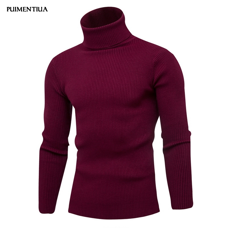 Puimentiua 2019 Autumn Winter Men's Pure Color Pullover Outerwear Comfortable High Collar Slim Fit Knitted Sweater Jumper Males
