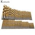 99 unids 1.5-10mm titanium brocas helicoidales mango cilíndrico taladro eléctrico accesorios herramientas ferramentas