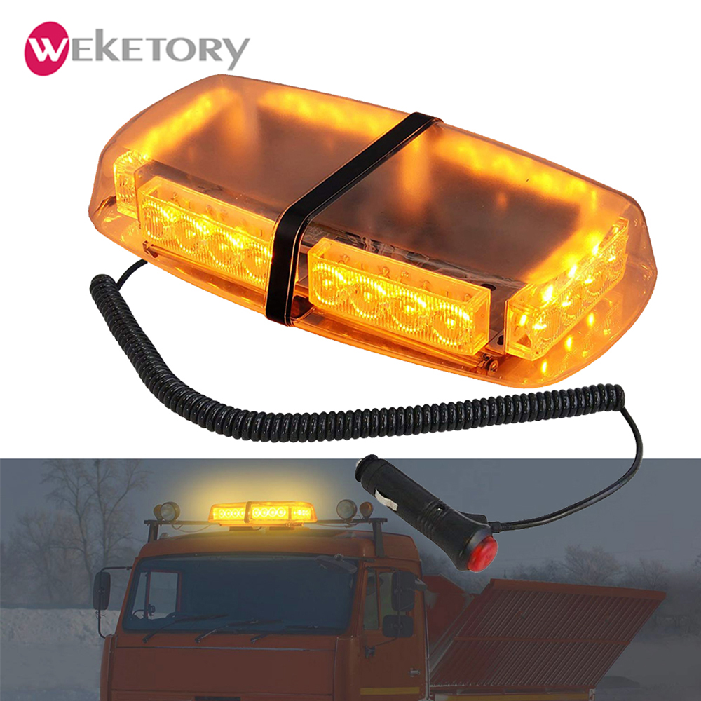 24 LED Emergency Warning Light Car Roof Strobe Light Mini Flashing Bar Amber Fire Truck Beacon Flash Light with 2 Magnets DC12V