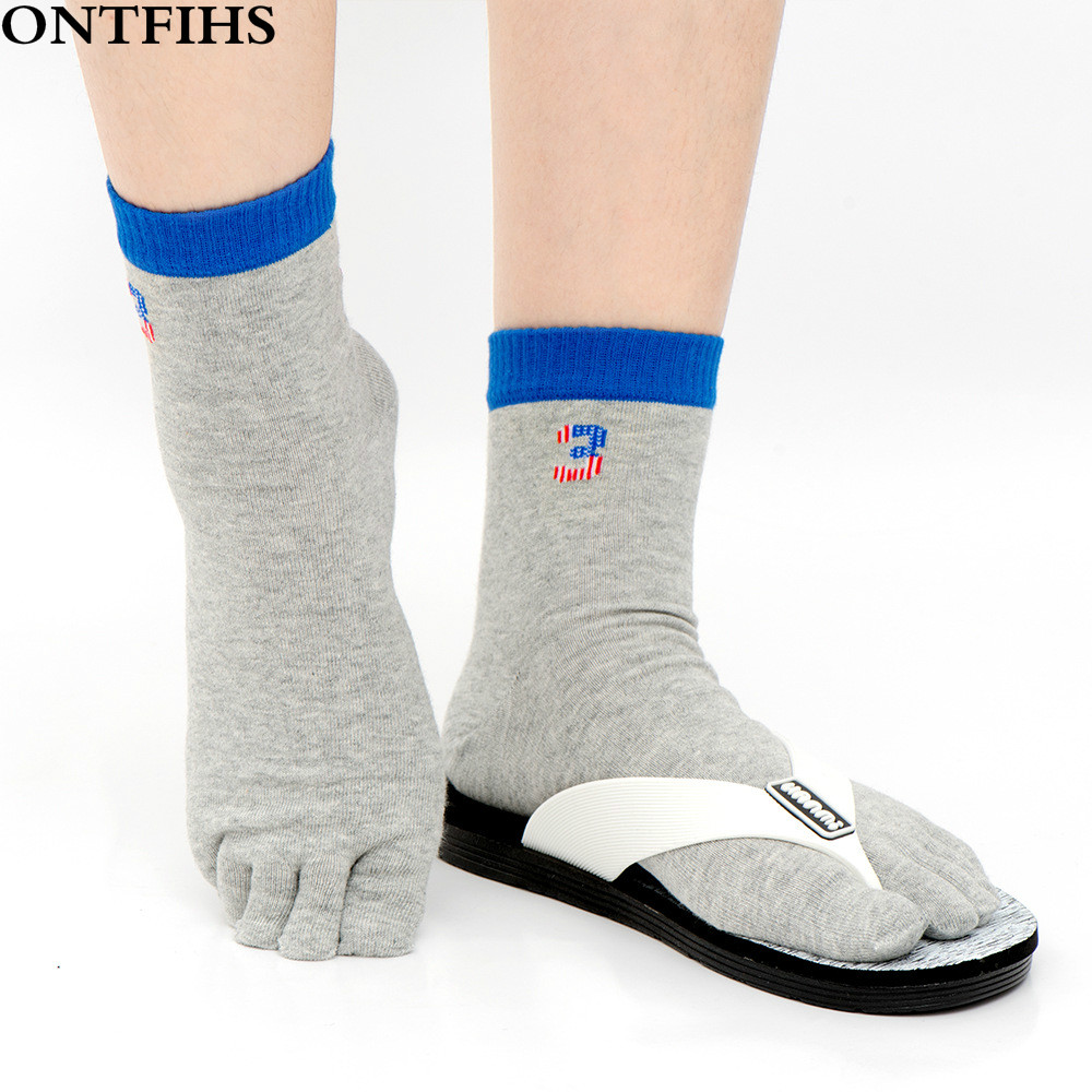 ONTFIHS Fashion Business Men Toe Socks Crew Combed Cotton Socks for Male Five Finger Dress Socks Casual T-40