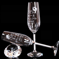 2pc Wedding Glasses Personalized Champagne Flutes Crystalline Party Gift Toasting Glass Goblet Crystal Engrave Anniversary