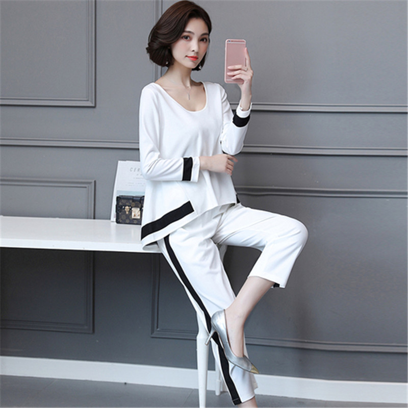 d95351dfa45 Aliexpress.com   Buy Plus Size 2 Piece Sets Womens 2019 Spring Autumn Wear  Fashion Trend Long Sleeves Tops Pants Casual Black White Two Piece Suit  from ...