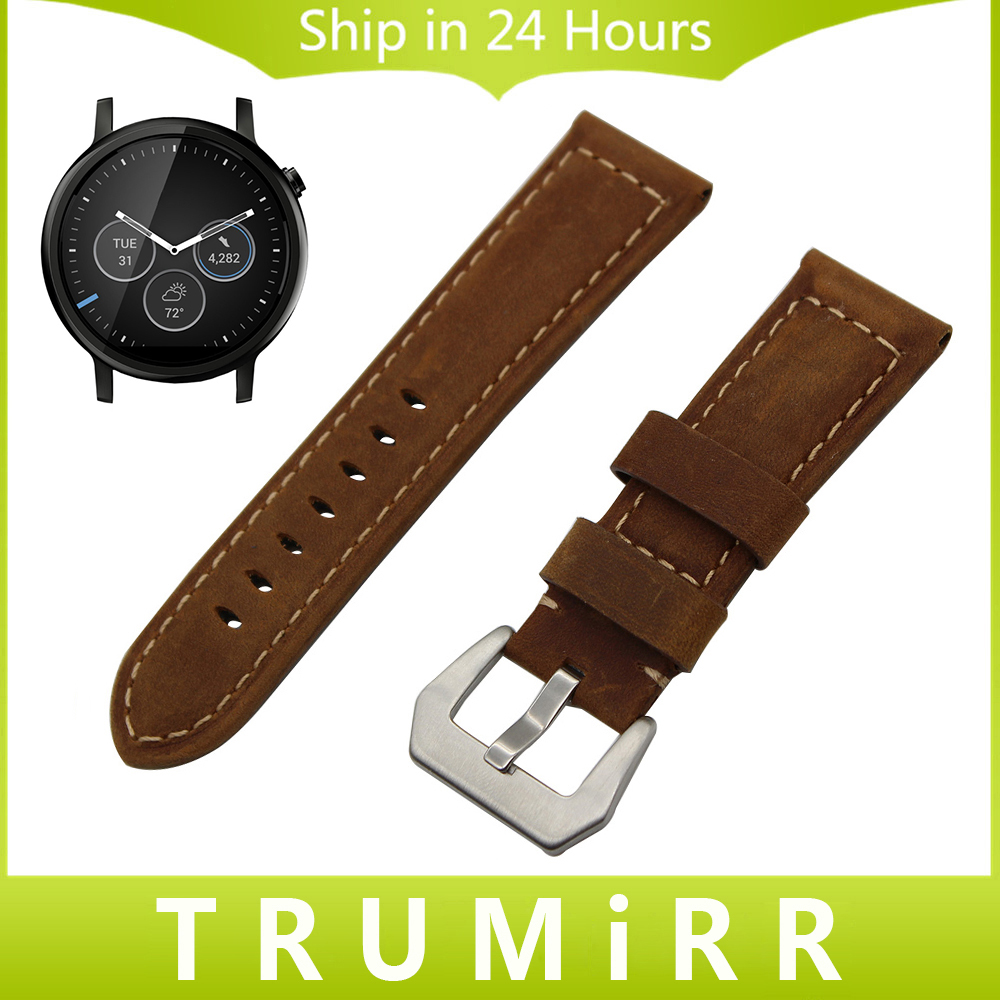 22mm Calf Genuine Leather Watch Band for Motorola Moto 360 2 2nd Gen Men's Strap Stainless Steel Tang Buckle Belt Wrist Bracelet 20mm silicone rubber watch band for motorola moto 360 2 42mm men mesh pattern resin strap stainless buckle wrist belt bracelet