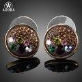 AZORA Banhado A Ouro Multicolor Stellux Cristal Austríaco Rodada Brincos TE0059