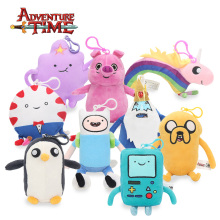 13-21cm Adventure Time Plush Keychain Toys Finn Jake Penguin Gunter Beemo BMO Soft Stuffed Animal Dolls Pendant Party Supplies
