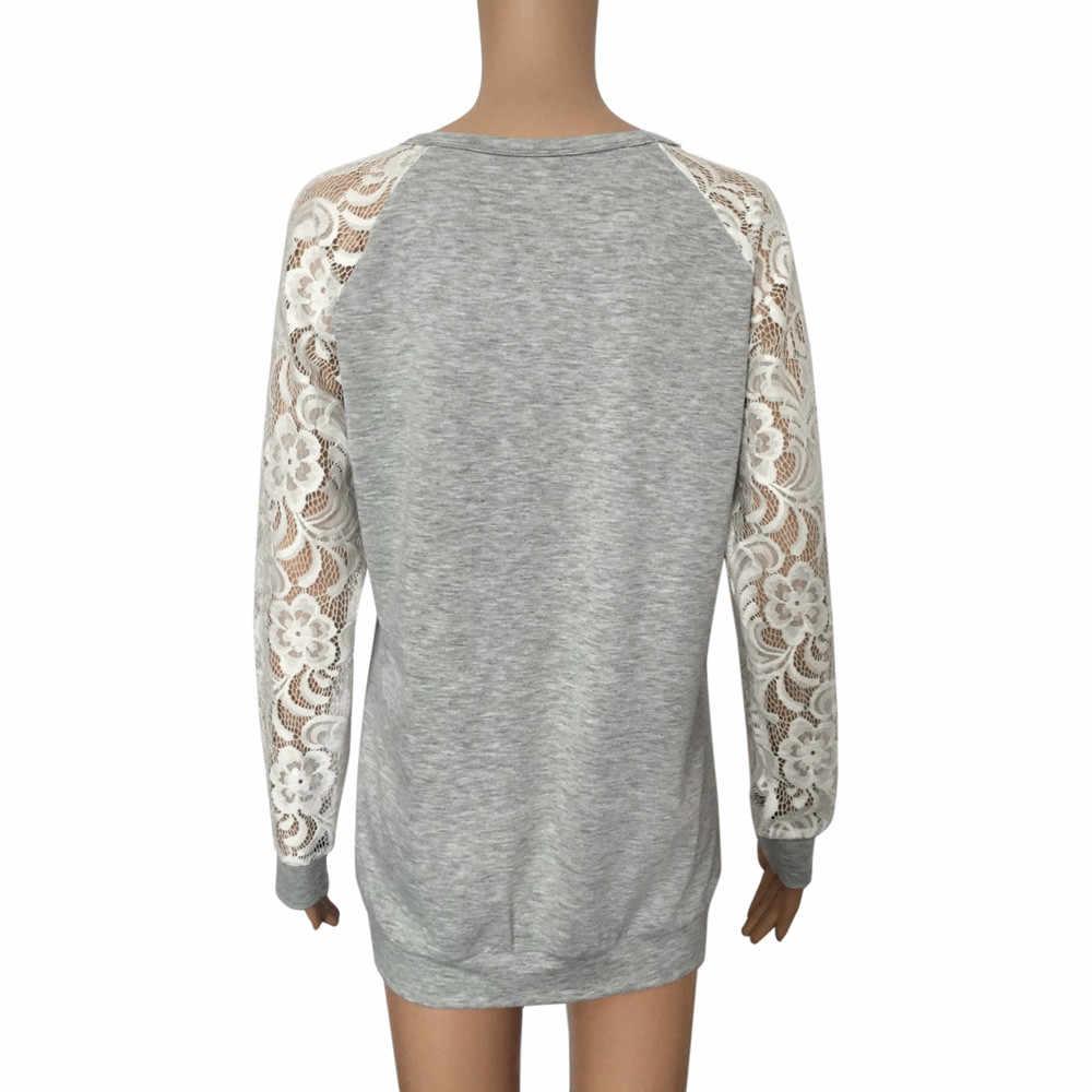Женская Весенняя модная футболка с круглым вырезом и длинным рукавом, кружевные лоскутные футболки, сексуальные открытые футболки, повседневные женские топы, большие размеры XL Femme # Q