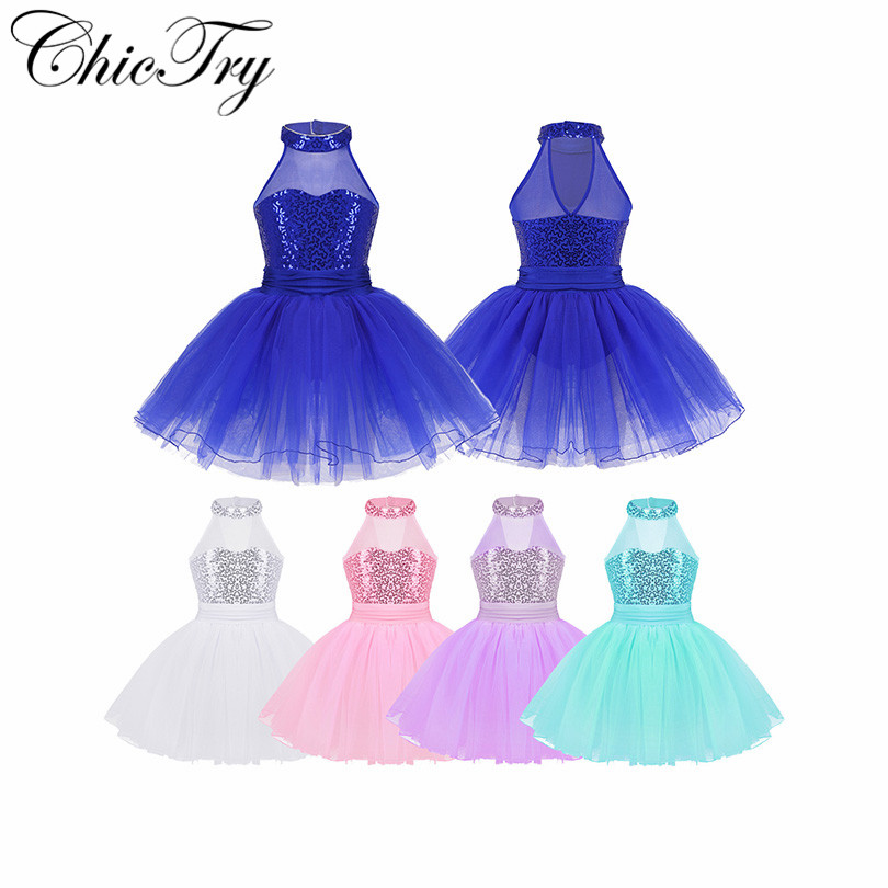 Children Sequins Fancy Costume Cosplay Girls Ballet Tutu Dress Ballet Dance Leotard Performance Stage Gymnastic Exercise Dress