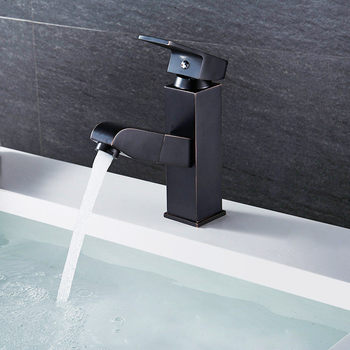 Bathroom Basin Faucet Brass Pull Out Basin Faucet Sink Mixer Tap Wash Basin Black Oil Brush Hair Faucet Hot Cold Toilet Sink Tap