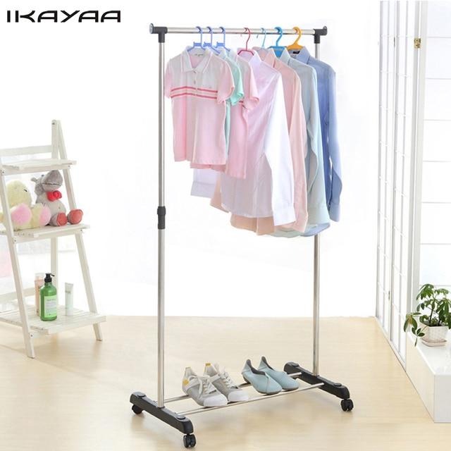 IKayaa US FR Stock Metal Adjustable 2 In 1 Shoe Hanger Clothes Hanging Rack  Storage Holders