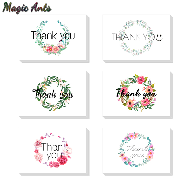 floral thank you card with envelope sticker custom